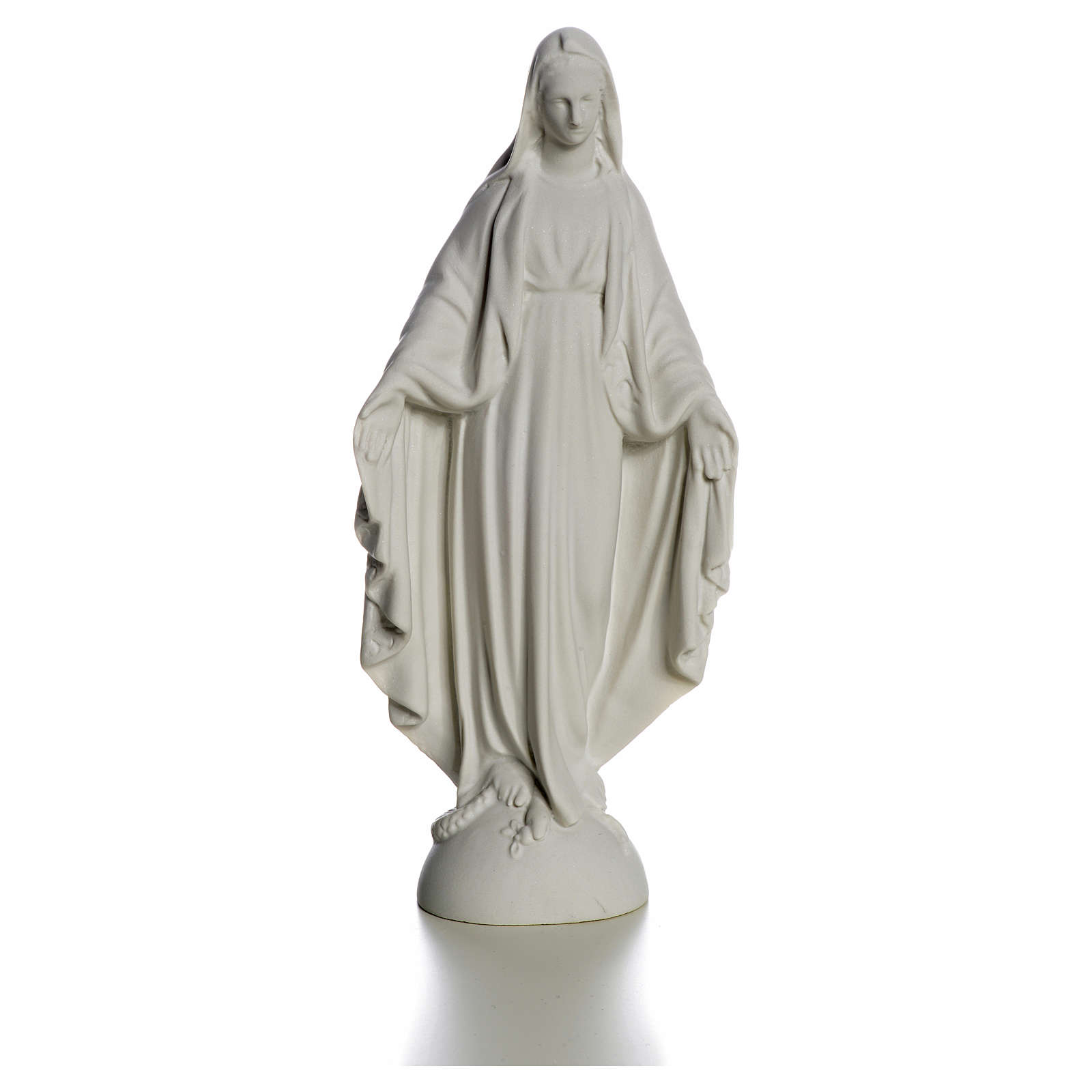 Statue Vierge Marie en marbre blanc 25 cm 4