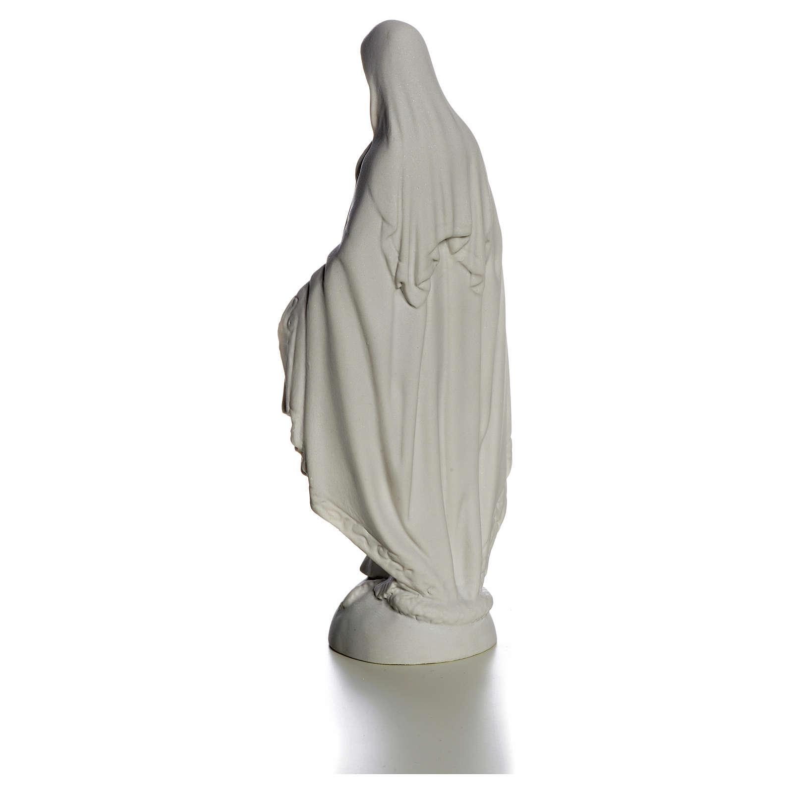 Madonna sul mondo 25 cm marmo bianco Carrara 4