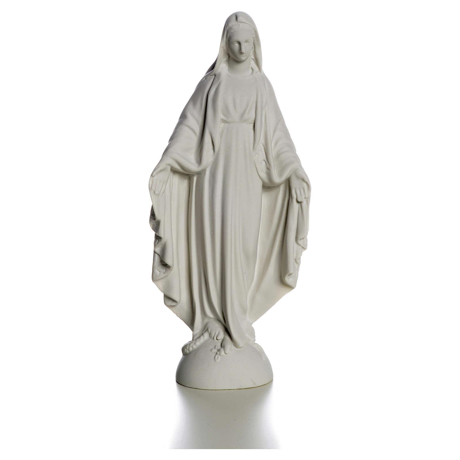 Virgem em cima do mundo 25 cm mármore branco Carrara 4