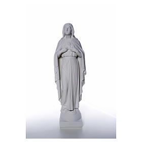 Our Lady with hand over heart, 79 cm reconstituted marble statue s5