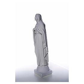 Our Lady with hand over heart, 79 cm reconstituted marble statue s6
