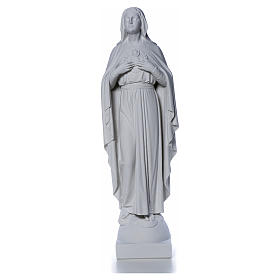 Our Lady with hand over heart, 79 cm reconstituted marble statue s8