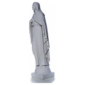 Our Lady with hand over heart, 79 cm reconstituted marble statue s9