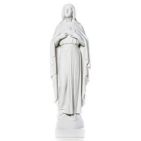 Our Lady with hand over heart, 79 cm reconstituted marble statue s12
