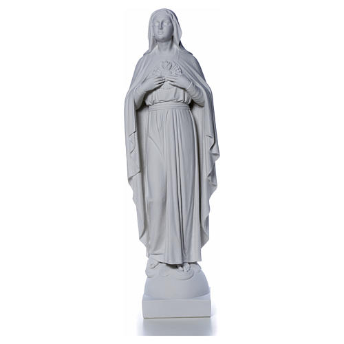 Our Lady with hand over heart, 79 cm reconstituted marble statue 8