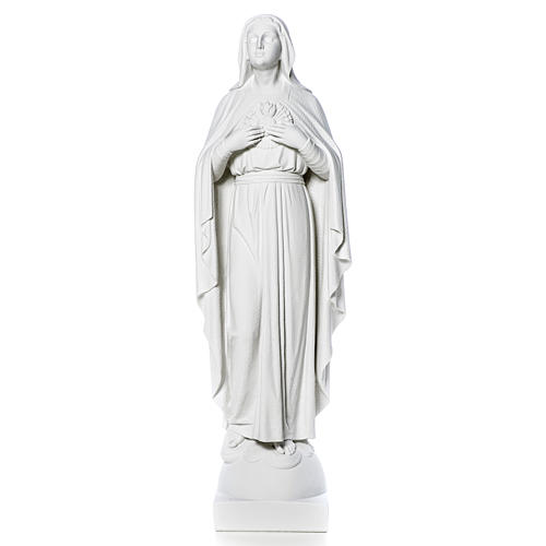 Our Lady with hand over heart, 79 cm reconstituted marble statue 12