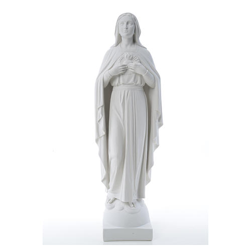 Our Lady with hand over heart, 79 cm reconstituted marble statue 16