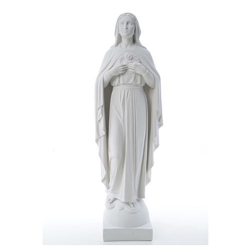 Our Lady with hand over heart, 79 cm reconstituted marble statue 1