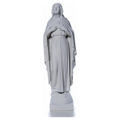 Virgen con las manos en el corazón 79cm, mármol 8
