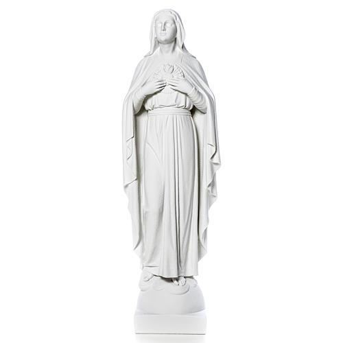 Virgen con las manos en el corazón 79cm, mármol 12