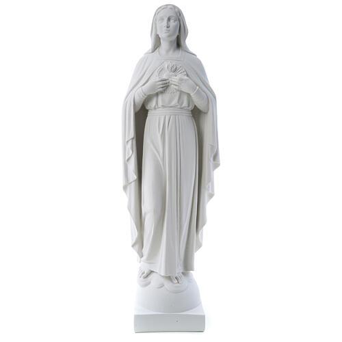 Virgen con las manos en el corazón 79cm, mármol