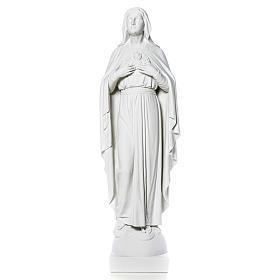 Statue Vierge Marie en marbre blanc 79 cm s12