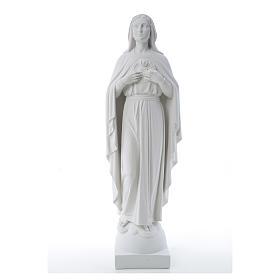 Statue Vierge Marie en marbre blanc 79 cm s16