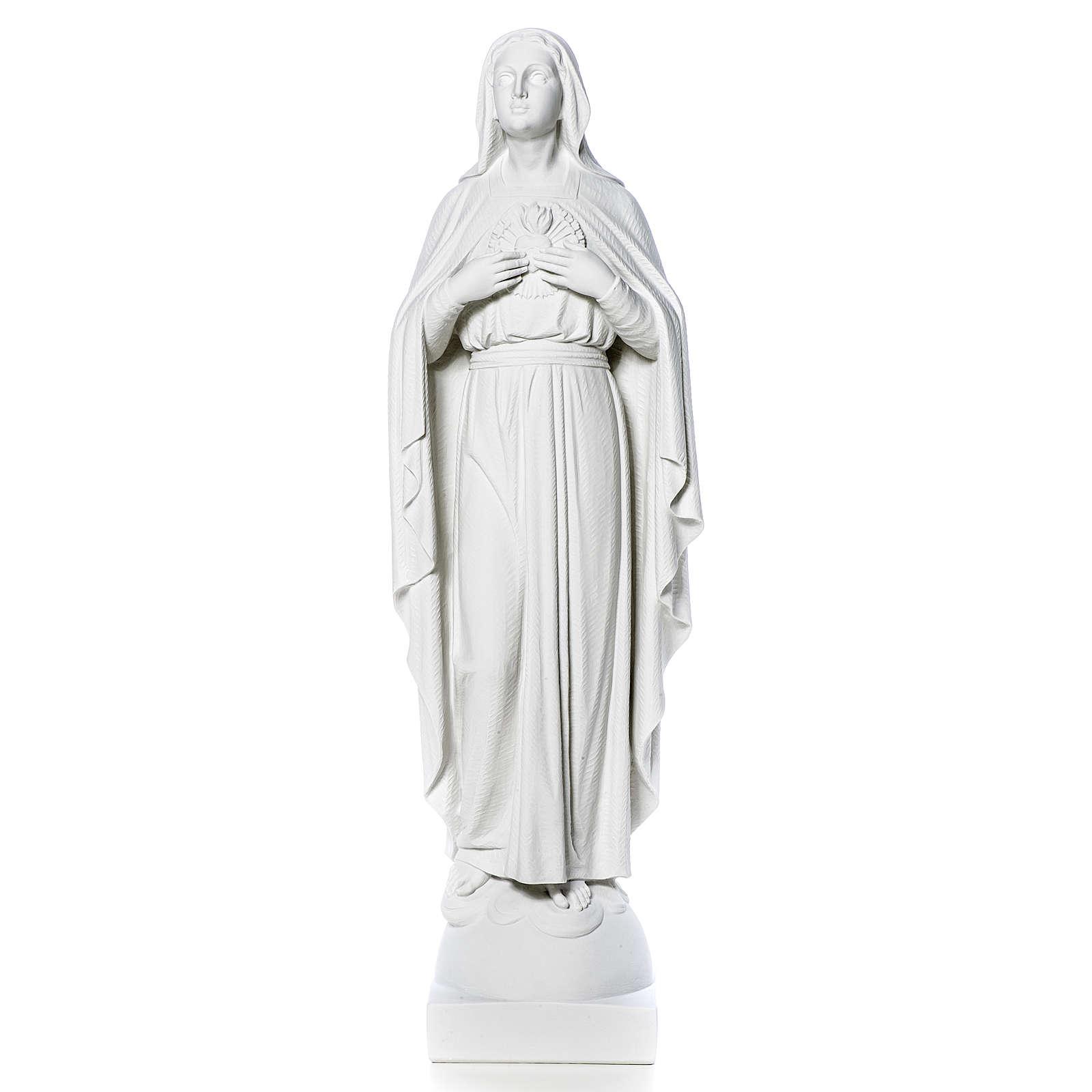 Madonna mani al cuore 79 cm marmo bianco 4