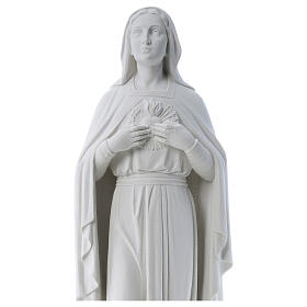 Madonna mani al cuore 79 cm marmo bianco s2