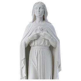 Virgem mãos no coração 79 cm mármore branco