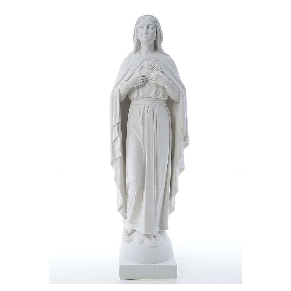 Our Lady with hand over heart, 79 cm composite marble statue 4