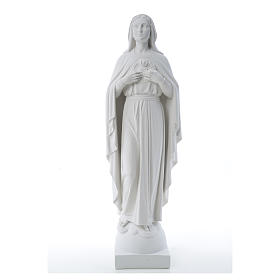 Our Lady with hand over heart, 79 cm composite marble statue s16