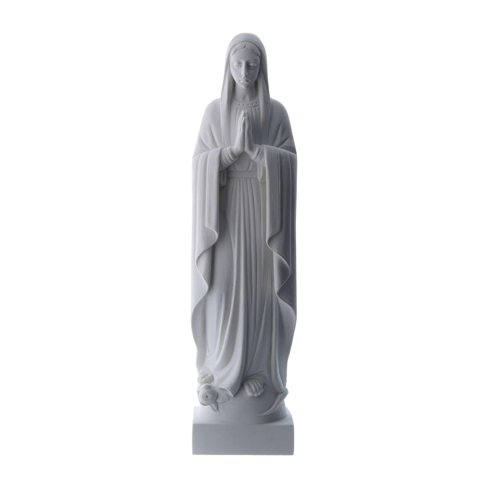 Madonna mani giunte polvere di marmo bianco 40-51 cm 4