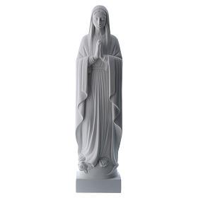 Madonna mani giunte polvere di marmo bianco 40-51 cm s1