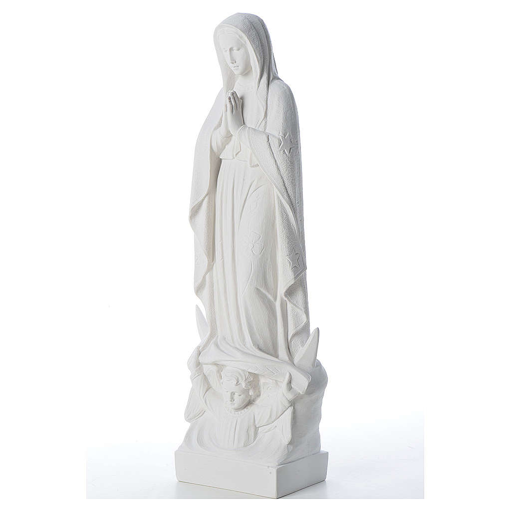 Our Lady with the moon and child in reconstituted marble 35-45 cm 4