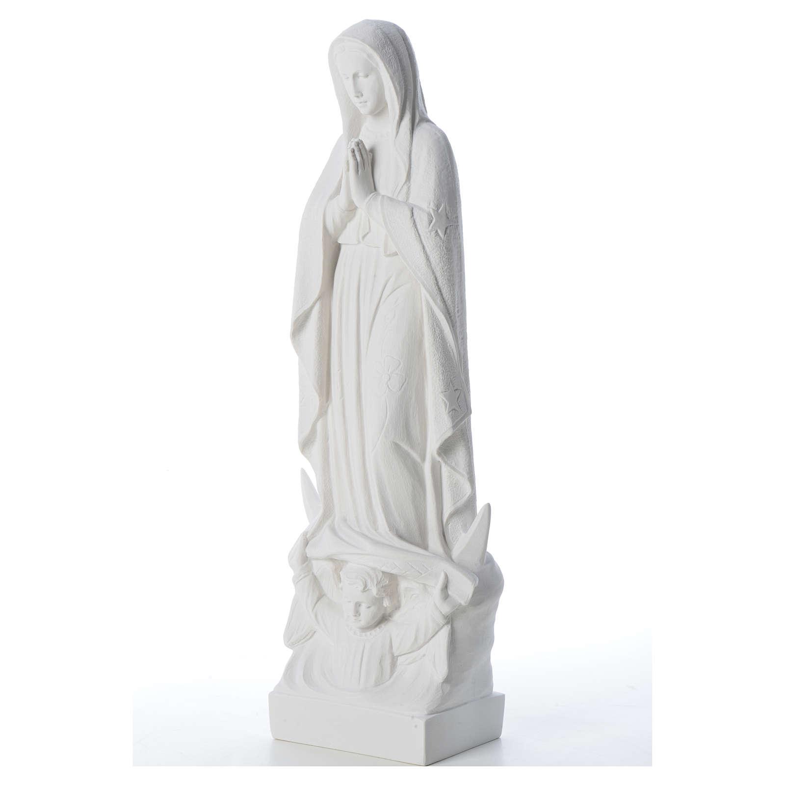 Madonna con luna e bambino marmo bianco 35-45 cm 4