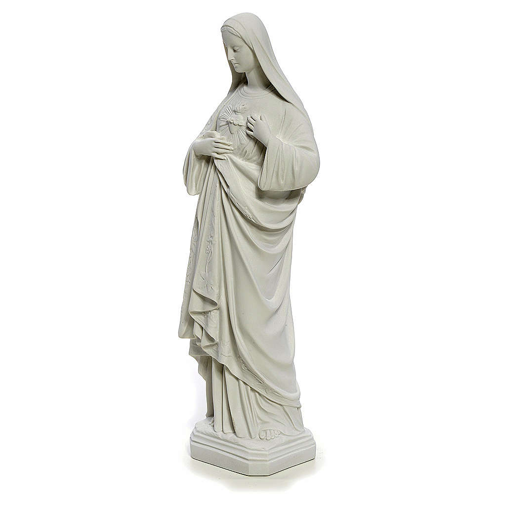 Holy Heart of Mary, 40 cm statue in reconstituted Carrara marble 4