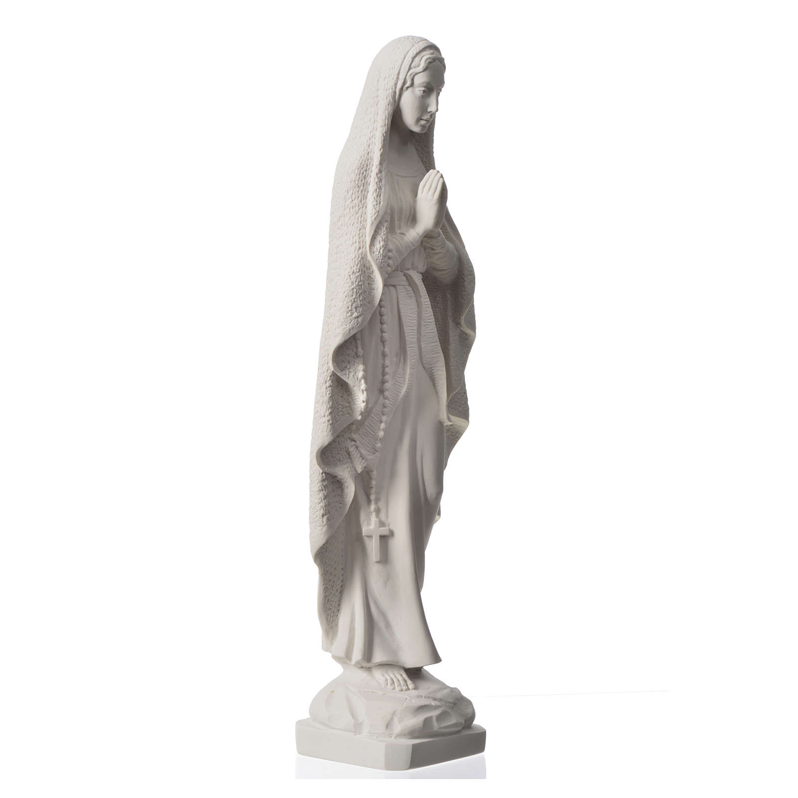 Our Lady of Lourdes statue in reconstituted Carrara marble, 19.5 inches 4