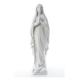 Our Lady of Lourdes statue in reconstituted Carrara marble, 80cm s1