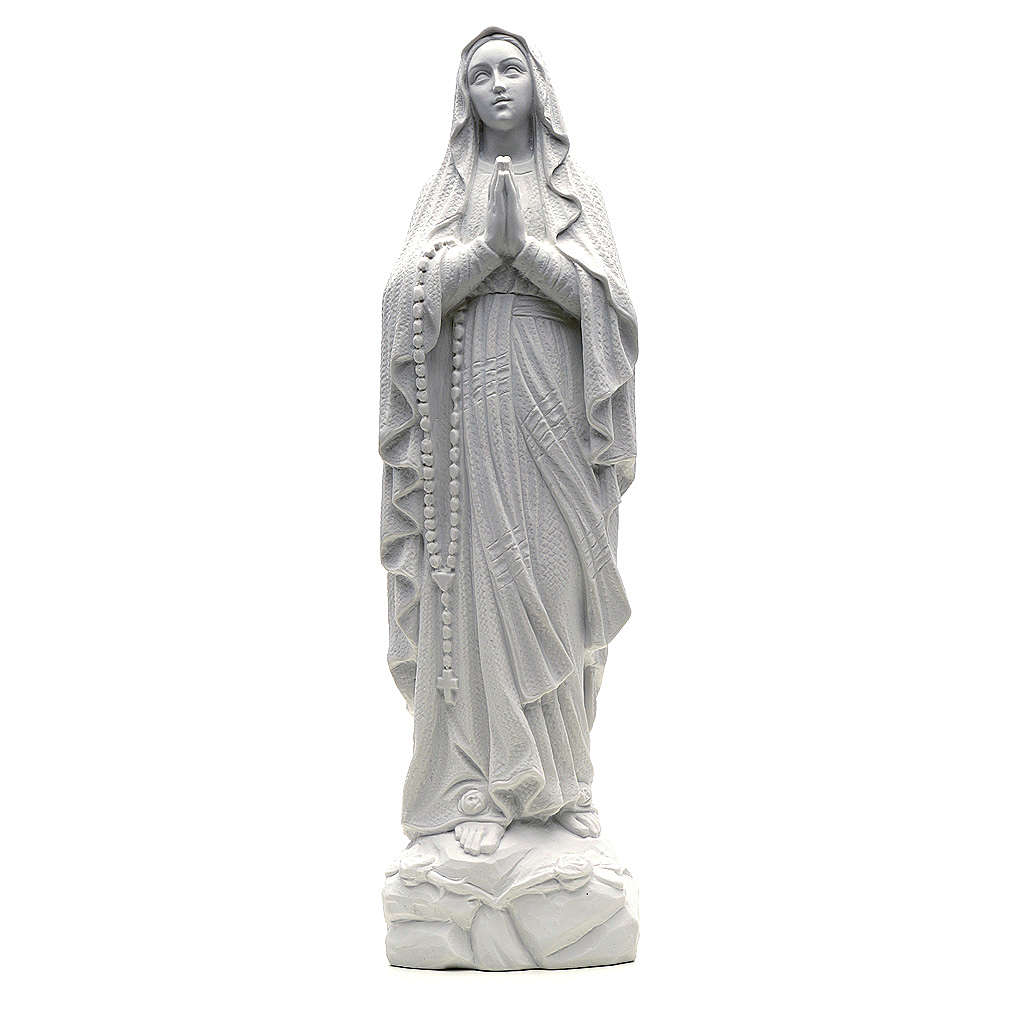 Our Lady of Lourdes statue in reconstituted Carrara marble, 50cm 4