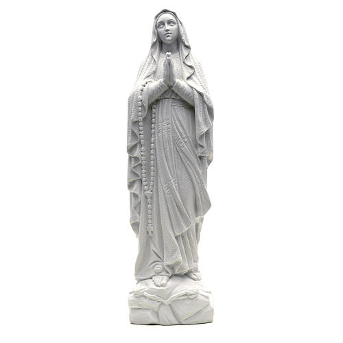 Our Lady of Lourdes statue in composite Carrara marble, 19.5 inc 1