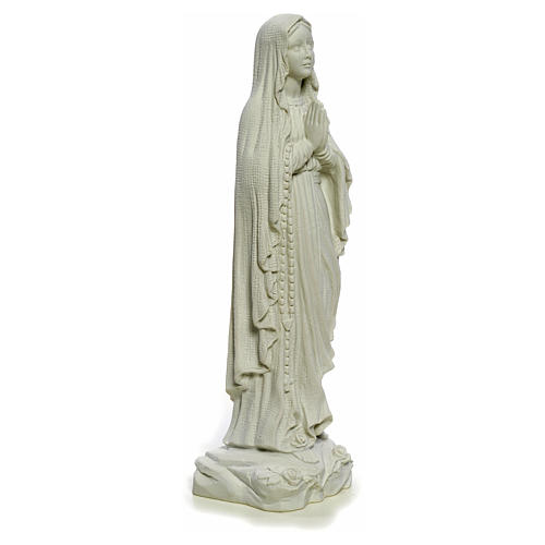 Our Lady of Lourdes, 40cm statue in reconstituted Carrara marble 8