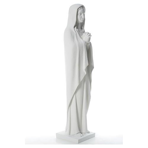 Statue Vierge Marie stylisée marbre blanc 80 cm 8