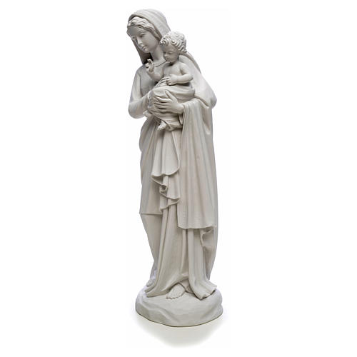 Virgin Mary and baby Jesus in reconstituted Carrara Marble, 85cm 6