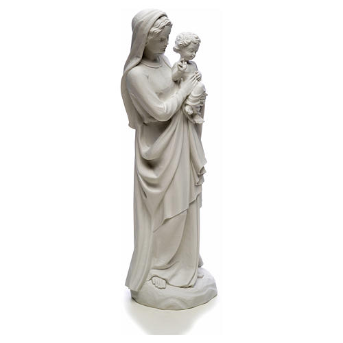 Virgin Mary and baby Jesus in reconstituted Carrara Marble, 85cm 8