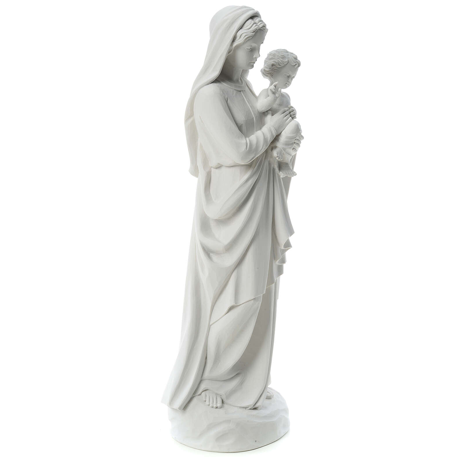 Statua Madonna con bimbo 85 cm marmo bianco 4