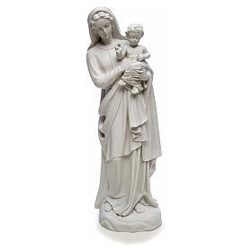 Statua Madonna con bimbo 85 cm marmo bianco s5