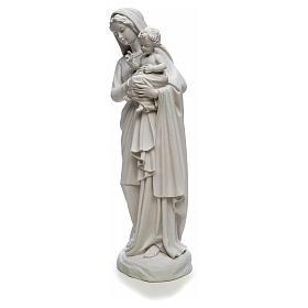 Statua Madonna con bimbo 85 cm marmo bianco s6
