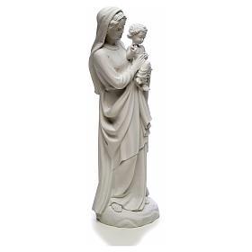 Statua Madonna con bimbo 85 cm marmo bianco s8