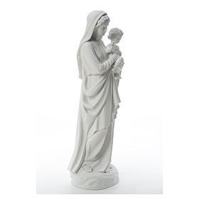 Statua Madonna con bimbo 85 cm marmo bianco s12