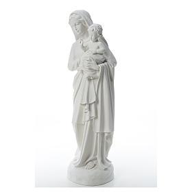 Statua Madonna con bimbo 85 cm marmo bianco s2