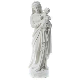 Statua Madonna con bimbo 85 cm marmo bianco