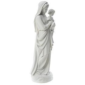 Statua Madonna con bimbo 85 cm marmo bianco s4