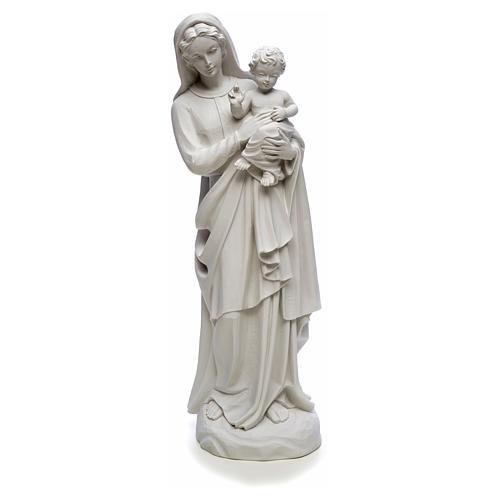 Statua Madonna con bimbo 85 cm marmo bianco 5