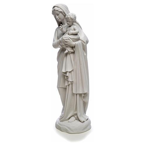 Statua Madonna con bimbo 85 cm marmo bianco 6