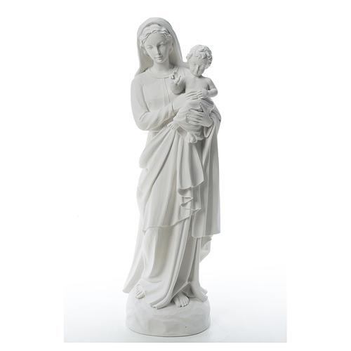 Statua Madonna con bimbo 85 cm marmo bianco 1