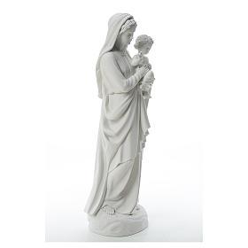 Figurka Matka Boska z Dzieciątkiem marmur biały 85 cm s4