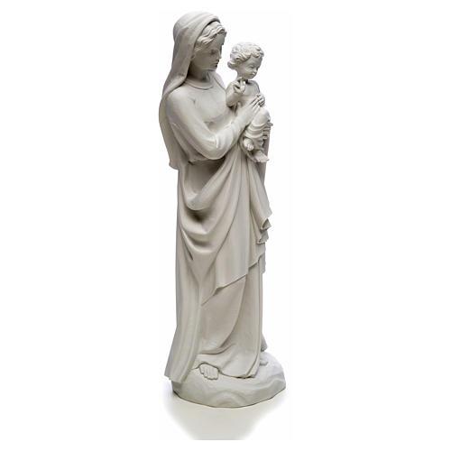 Figurka Matka Boska z Dzieciątkiem marmur biały 85 cm 8