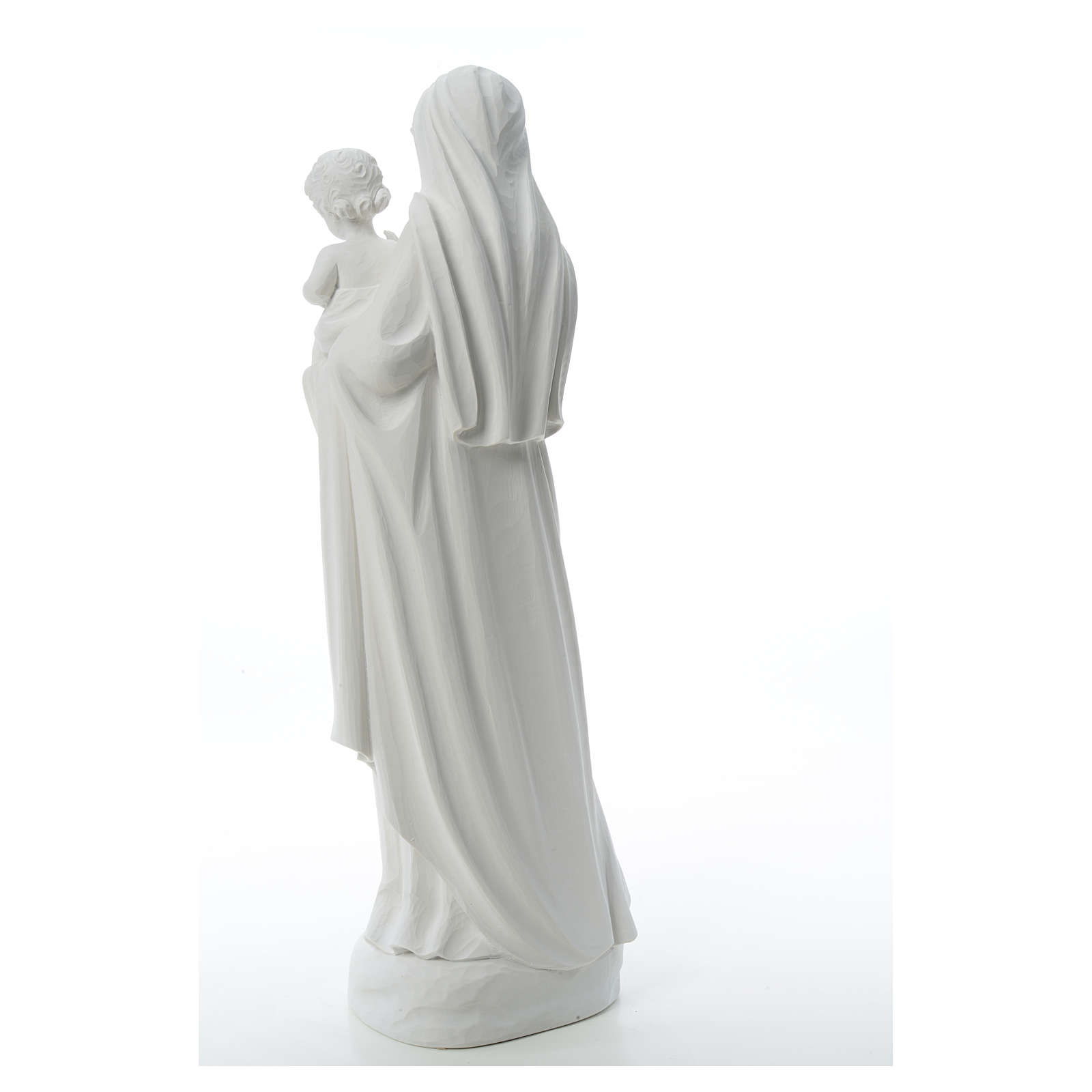 Virgin Mary and baby Jesus in reconstituted Carrara Marble, 85cm 4