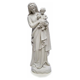 Virgin Mary and baby Jesus in reconstituted Carrara Marble, 85cm s5